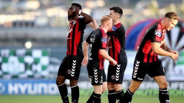 Bohemians' IshMahli Akinade celebrates scoring the first goal of the game. Photograph: Inpho