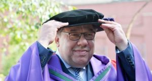 Former taoiseach Brian Cowen during the awarding ceremony at Dublin Castle on Wednesday. Photograph: Alan Betson