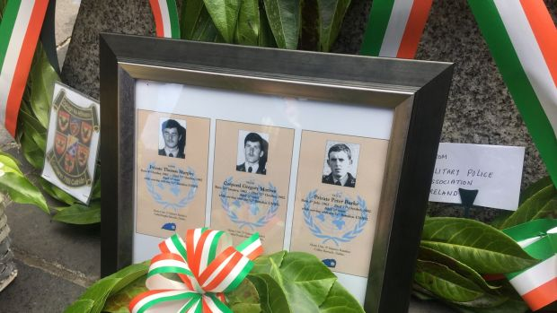 A wreath was laid in memorial of Corporal Gregory Morrow (20) and Privates Thomas Murphy (19) and Peter Burke (20). Photograph: Ronan McGreevy