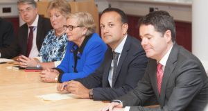 Members of the Cabinet Francis Fitzgerald, Taoiseach, Leo Varadkar  and Paschal Donohoe. Photograph: Collins