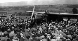 A crowd cheers for Amelia Earhart in 1937. Photograph: AP Photo/File