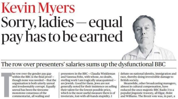 The Kevin Myers article appeared in today's Sunday Times Ireland edition