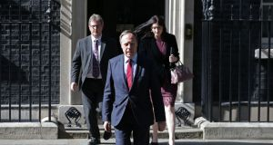 Jeffrey Donaldson, Nigel Dodds and Emma Pengelly of the DUP walking out of 10 Downing Street in June. Photograph: Daniel Leal-Olivas/AFP/Getty Images