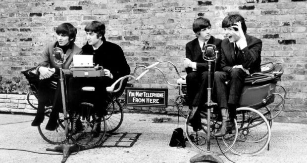 The Beatles on the set of A Hard Day's Night (1964), shot in Twickenham studios