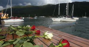 Roses aboard a boat taking part in the cross-border flotilla on Carlingford Lough. Photograph: Niall Carson/PA