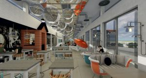A computer generated image of the design of the interior of the €2m Clontarf Baths cafe, bar and restaurant, which is due to open later this year