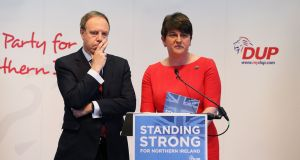 DUP leader Arlene Foster and deputy leader Nigel Dodds. Photograph: Brian Lawless/PA Wire.