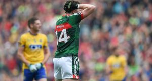 Cillian O'Connor missed late chances to see Mayo past Roscommon in Sunday's All-Ireland quarter-final in Croke Park. Photograph: Tommy Grealy/Inpho