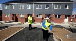 Recently completed rapid-build homes in Poppintree, Ballymun, in Dublin. Photograph: Brian Lawless/PA Wire
