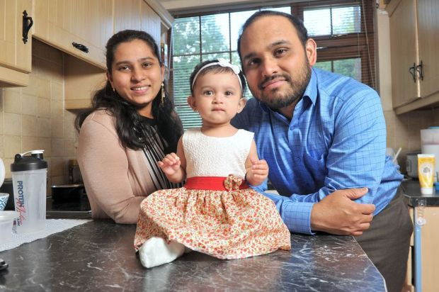 Deepthi Popuri and her husband Shashi Mamillapalli pictured with their daughter Lakshana Mamillapalli in Cork. Photograph: Daragh Mc Sweeney/Provision
