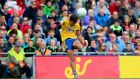 Roscommon's Donie Smith kicks the equalising point from a free to secure a draw against Mayo in the All-Ireland quarater-final at Croke Park. Photograph: James Crombie/Inpho