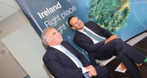 Joseph  Papa, chief executive  of Valeant Pharmaceuticals International, and Taoiseach Leo Varadkar at the  opening of the  Bausch & Lomb extension  in Waterford. Photograph: John Power