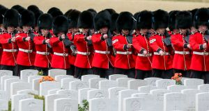 Irish Guards arrive at the Tyne Cot Cemetery as part of the Centenary of Passchendaele. Photograph: Stephanie Lecocq/EPA