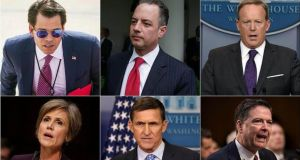 Clockwise from top left: Anthony Scaramucci, Reince Priebus, Sean Spicer, James Comey, Michael Flynn and Sally Yates have all been fired or resigned during the Trump administration. Photographs: NYTIMES, AFP, REUTERS