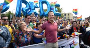 Taoiseach Leo Varadkar has confirmed he will attend the Pride breakfast event in Belfast on Saturday morning after meeting political leaders in Northern Ireland on Friday. Photograph: Dara Mac Dónaill/The Irish Times.