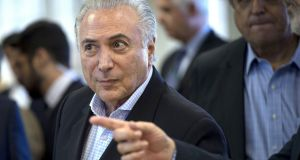 Brazilian president Michel Temer is to be tried by the supreme court on corruption charges. Photograph:  Mauro Pimentel/AFP/Getty Images