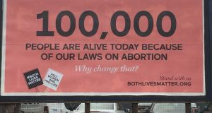 The billboard put up by anti-abortion lobby group Both Lives Matter. Photograph: Both Lives Matter/PA Wire