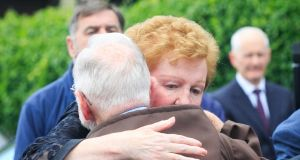 Brother Kevin Crowley, guardian of the Capuchin Friary, Church Street, Dublin, consoles the wife of Robert (Pino) Harris, Denise, during the funeral of Robert (Pino) Harris at The Church of the Assumption of the Blessed Virgin Mary, Dalkey, Dublin. Photo: Gareth Chaney Collins