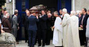 The remains of Robert (Pino) Harris leave The Church of the Assumption of the Blessed Virgin Mary following his funeral in Dalkey, Dublin. Photo: Gareth Chaney Collins