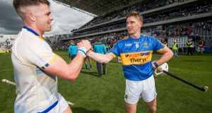 Tipperary's  Pádraic Maher celebrates with Brendan Maher after the All-Ireland quarter-final victory over Clare at Páirc Uí Chaoimh. Photograph: Morgan Treacy/Inpho