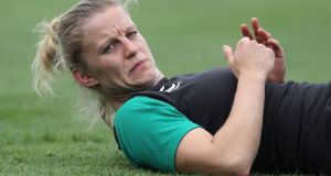 Ireland's Claire Molloy during training ahead of the Women's Rugby World Cup. Photo: Dan Sherida/Inpho