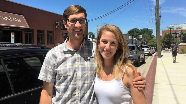 "Sam and his wife Lauren are South Carolina natives in their 30s who live in Raleigh. ""I think it's sad . . . that we have a leader as inexperienced and inarticulate as [Donald Trump] is,"" says Sam."