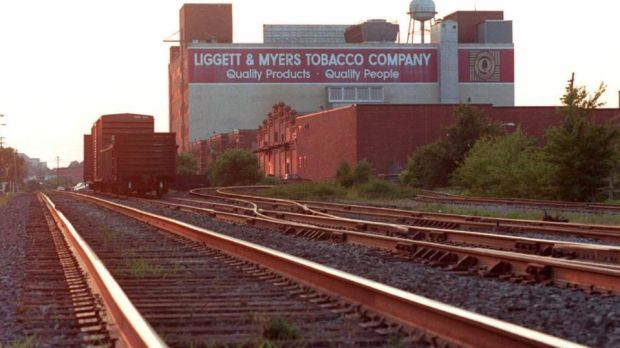 The Liggett and Myers Tobacco building in downtown Durham, North Carolina. Photograph: Travis Heying/AFP/Getty Images