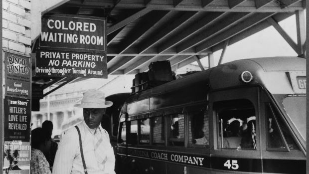 The bus station in Durham, North Carolina, in May 1940. Photo by Jack Delano/PhotoQuest/Getty Images