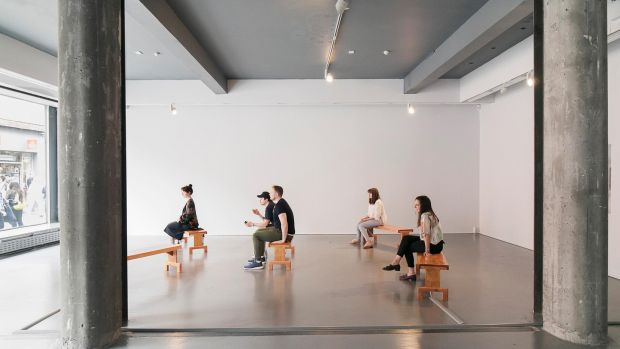 Prime by Camille Norment at Temple Bar Gallery + Studios 17: Each bench is wired to a different sound and so the vibrations change from bench to bench. Photograph: Kasia Kaminska