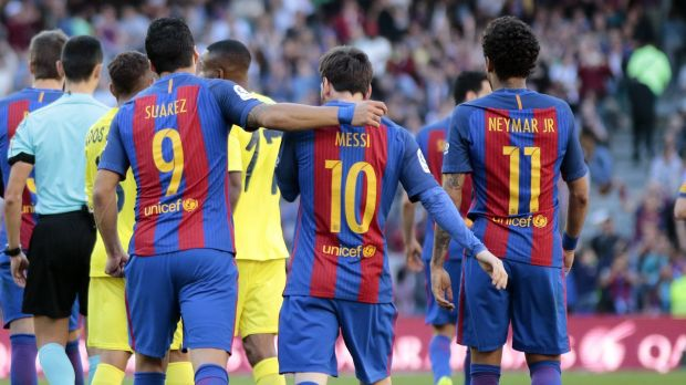 The front three of Messi, Neymar and Suarez was perhaps the best ever seen in football. Photo: Getty Images