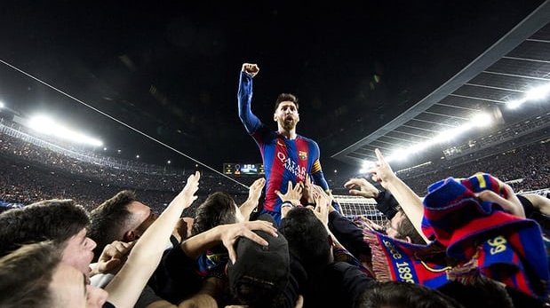 Lionel Messi celebrates with a delighted mob of fans after Barcelona's 6-1 second-leg win over Paris Saint-Germain in March. They lost the first leg 4-0. Photograph: Santi Garcés/FC Barcelona