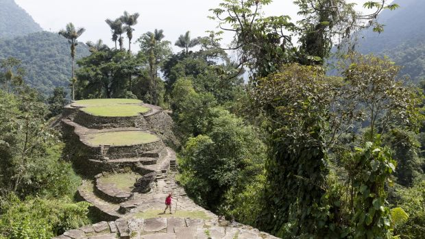 The Lost City consists of a series of 169 terraces carved into the mountainside, a net of tiled roads and several small circular plazas. The entrance can be accessed only by a climb up some 1,200 stone steps through dense jungle. Photograph: Thierry Tronnel/Corbis via Getty Images