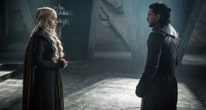Loyalty issues: Daenerys Targaryen (Emilia Clarke) meets Jon Snow (Kit Harington) for the first time in HBO's 'Game of Thrones', broadcast on Sky Atlantic.