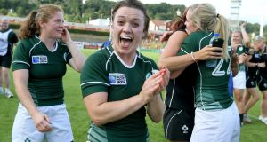 Ireland's Lynne Cantwell celebrates after beating New Zealand during the 2014 World Cup. Photo: Dan Sheridan/Inpho