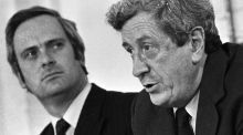 Fine Gael leader Garret FitzGerald (right) and  John Bruton, FG spokesman on finance, 1982.  Photograph: Pat Langan