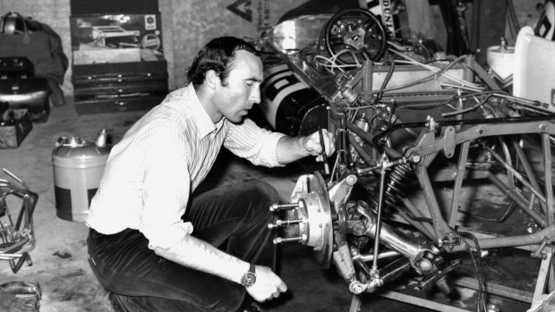 Frank Williams works on an F1 car in his team garage in 1969. Photograph: Curzon Artificial eye