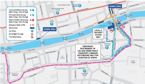 Traffic diversions in Dublin city centre starting on Friday, August 4th.