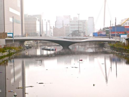 "Back to the Future - ""Former London architectural practice Future Systems designed the Spencer Dock Bridge over the Royal Canal, which in this photo looks more like New Delhi than Dublin. """