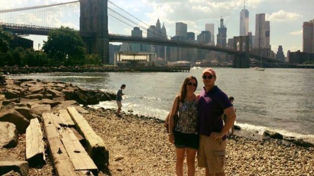 Irish abroad: Michael Russell, who lives in New York, with his fiancee