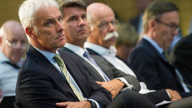 Matthias Mueller, chairman of Volkswagen: Germany's car industry faces existential crisis after the emissions scandal and a cartels investigation. Photograph: Steffi Loos/Getty Images