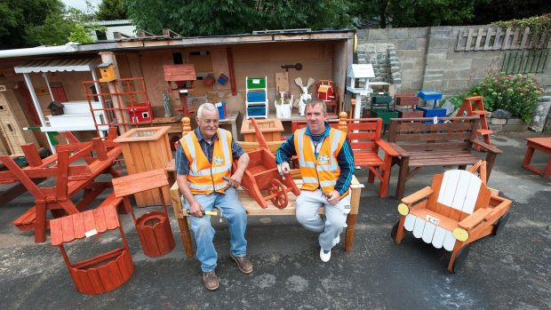 "John Hennessy and Fran Shaw at the Men's Shed in Mulhuddart: ""It's great to get out and work with the kids,"" says Mr Shaw. Photograph: Dave Meehan"