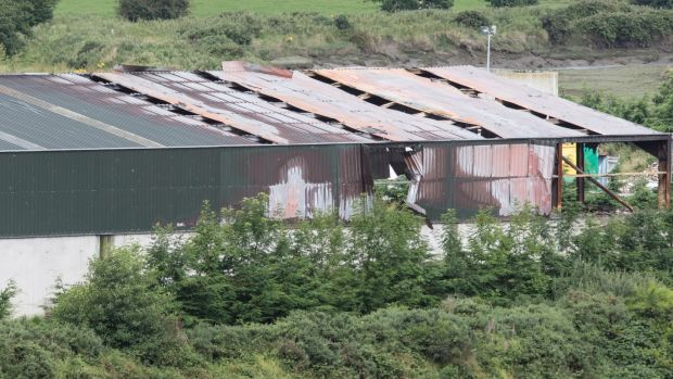One of the damaged sheds at Ferry's Refuse and Recycling site at Rossbracken outside Letterkenny.