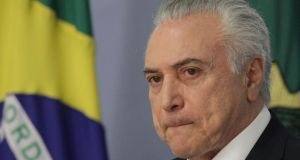 Brazilian president Michel Temer: In the run-up to the vote Mr Temer showered deputies with funds for their pet projects and state roles for their allies in an effort to shore up his support.  Photograph:  Eraldo Peres/AP