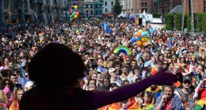 Bunny from Belfast performing at the Dublin Pride parade. Leo Varadkar will attend a Pride breakfast in Belfast, but not the parade itself. Photograph: Dara Mac Dónaill