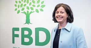 Fiona Muldoon, chief executive of FBD Insurance. The insurer delivered a €11.9 million pre-tax profit for the first half of the year, compared to a €5.3 million loss for the same period last year. Photograph: Eric Luke