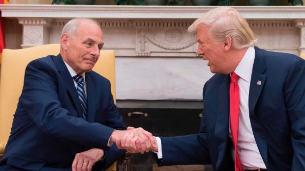 US president Donald Trump with newly sworn-in chief of staff John Kelly at the White House on July 31st. Photograph: Jim Watson/AFP/Getty Images