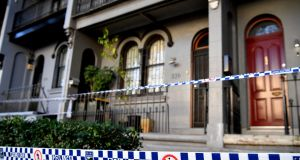 Police continue to search a home in Surry Hills, Sydney, Australia. Two men appeared in court on Friday in relation to an alleged terror plot to bring down an aircraft. Photograph: Joel Carrett/EPA