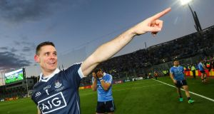 Stephen Cluxton acknowledges the crowd in the celebrations after last year's All-Ireland victory. Photograph: Inpho