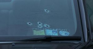 Stamullen shooting: bullet holes in a windscreen at Mill Close. Photograph: Gareth Chaney/Collins