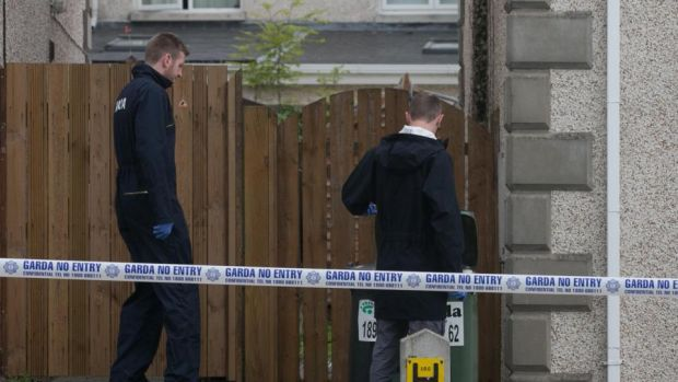 Stamullen shooting: gardaí at Mill Close, where a man was shot on Thursday night. Photograph: Gareth Chaney/Collins